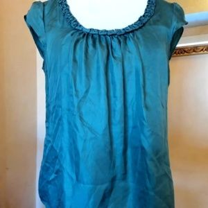 Willi Smith Teal Silk Blouse Size M